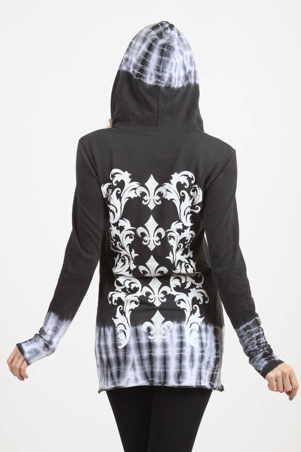 Gorgeous Charcoal black tie dye long-sleeved hoodie Ombre DIPPED