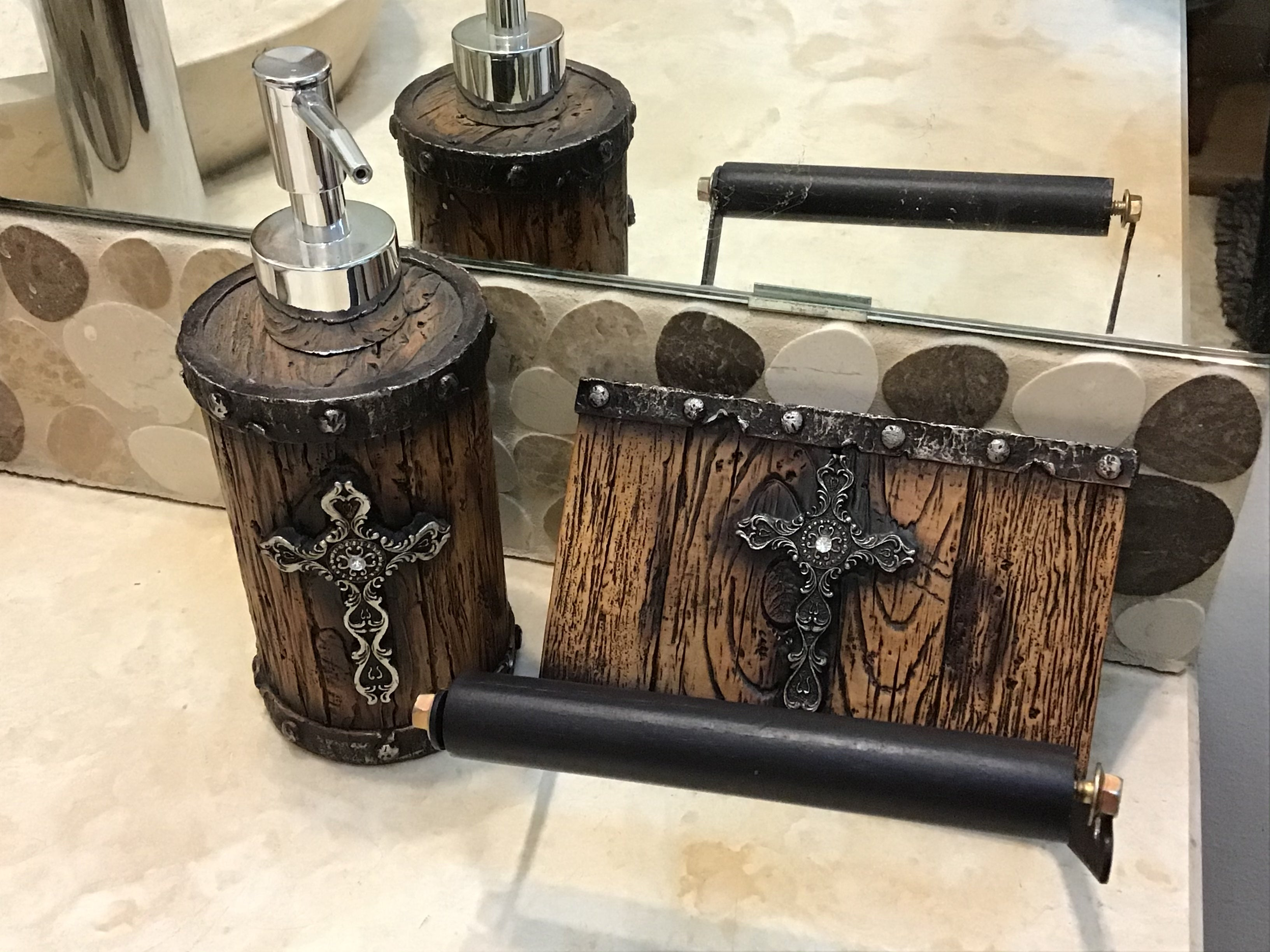 WOOD W/ SILVER CROSS TOILET PAPER HOLDER And soap pump each sold separately