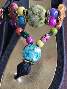 Women's marble glitter stone beating colourful flip-flop sandals thong style