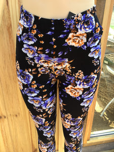 Blue and creamy brown Flower Womens best leggings BUTTERY SOFT LEGGINGS One Size  Print Natural flower print