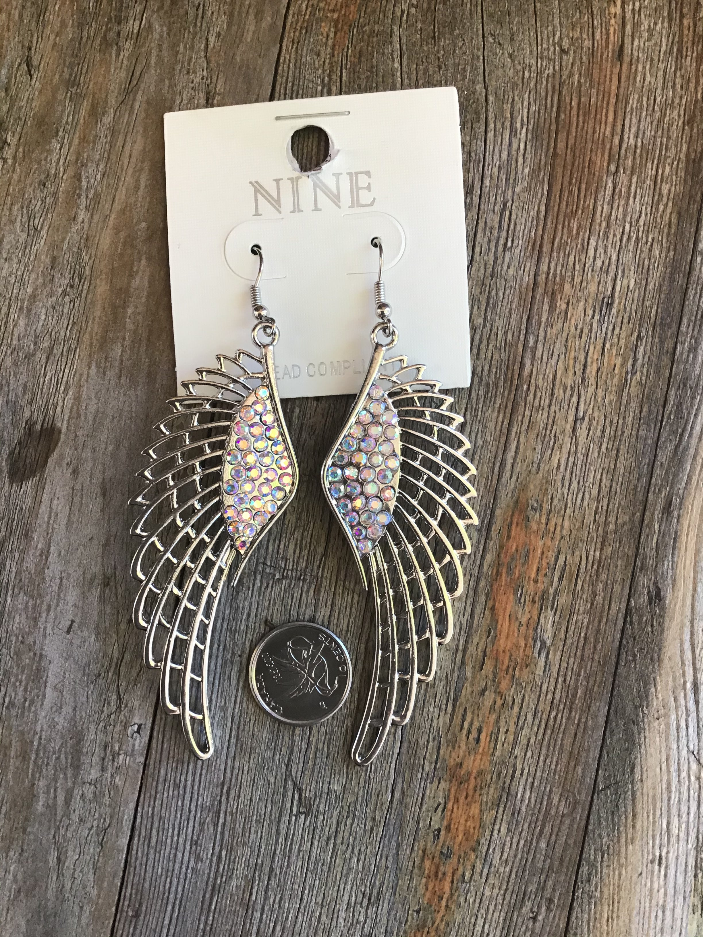 Wing casting with stone/fish hook Earrings