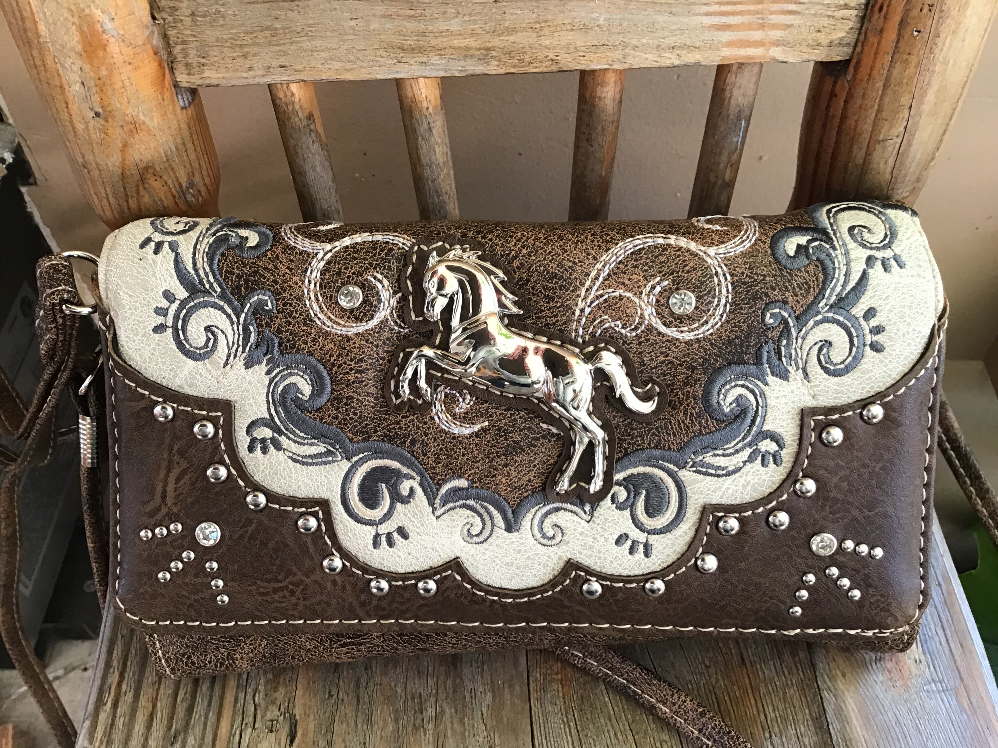 Western chocolate brown horse wallet Concho Embroidery Trifold Clutch Cross body bag purse