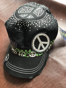 Black with lime piece Cadet Ball hat distressed theme going on it