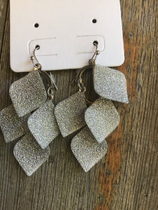 Sparkle Tear Drop  Sanded Glitter Drop Earrings Drop