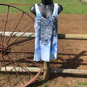 Gorgeous vocal tank top woman's dressy tank top Tie-dye blue long summer tank tops