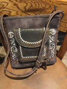Tooled Collection Tote Embossed vintage Montana West handbag Saddle stitch purse