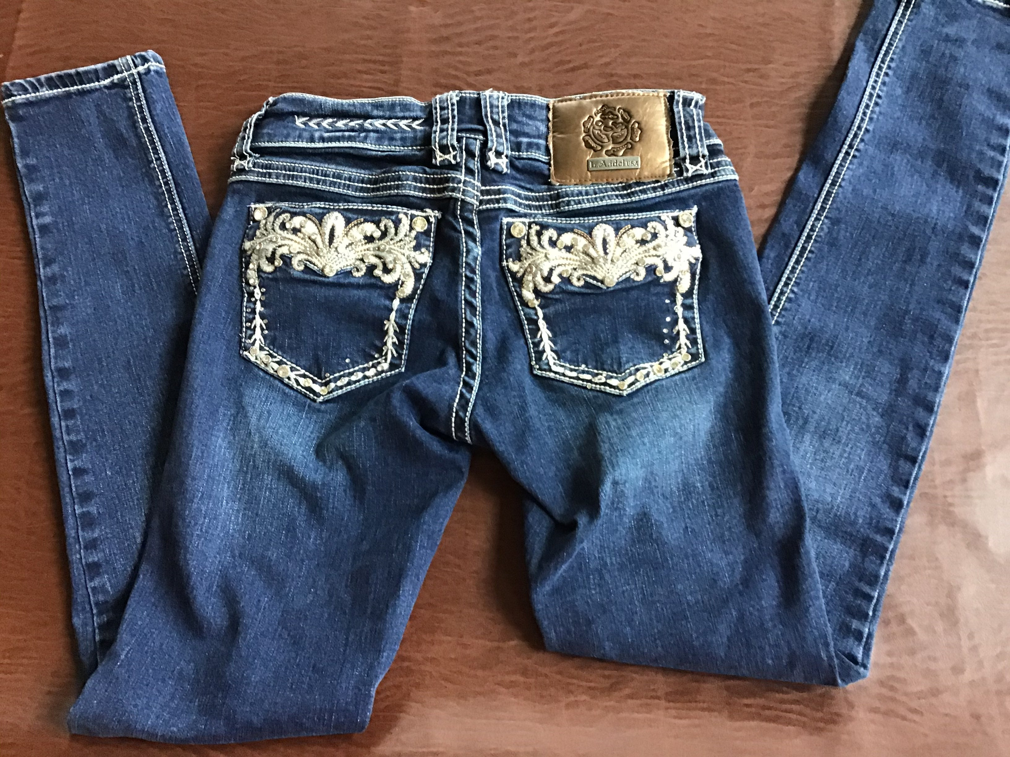 Dark Wash Denim La Idol Skinny JUNIOR FIT WESTERN EMBROIDERED POCKET BOOT CUT JEANS