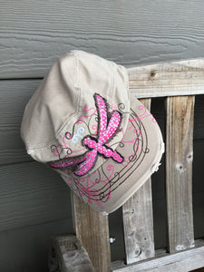 Dragonfly fuchsia tan chocolate brown cadet hat adjustable