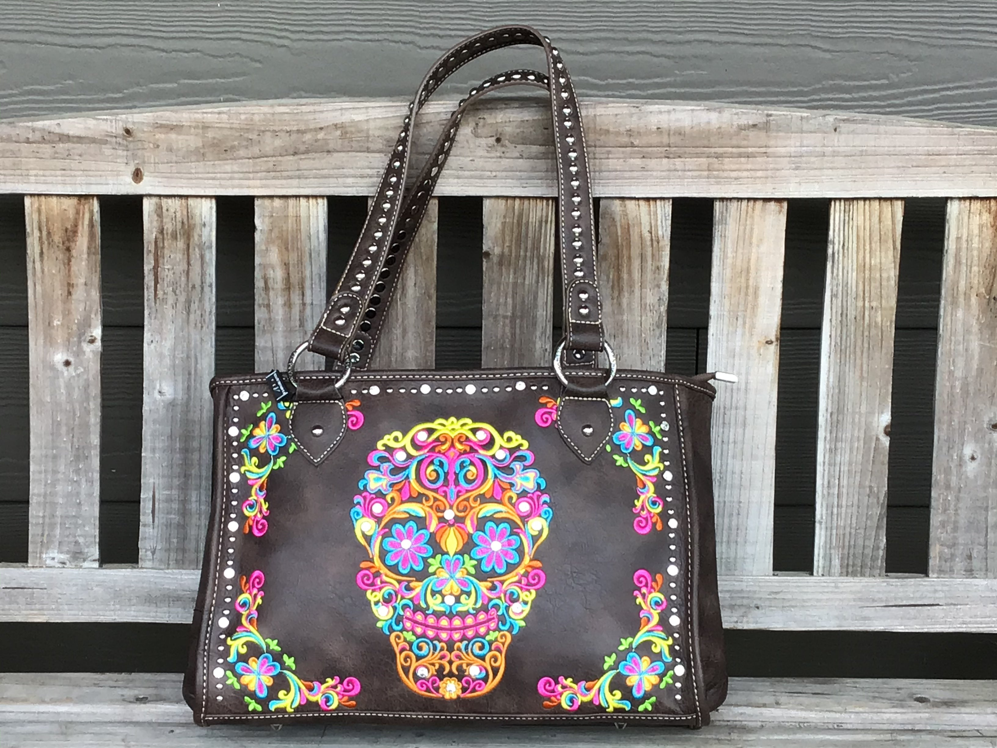 Brown Skull Purse  Embroidered Sugar Skull on the front shoulder bag purse Montana west handbag