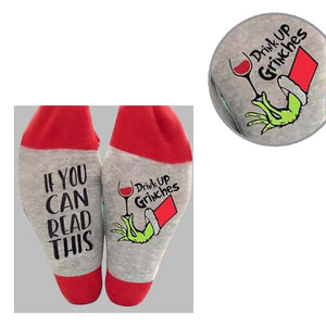 Christmas Novelty Crew Socks Drink Up Grinches Letters
