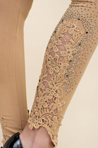 Ladies' Lace patch leggings with stone