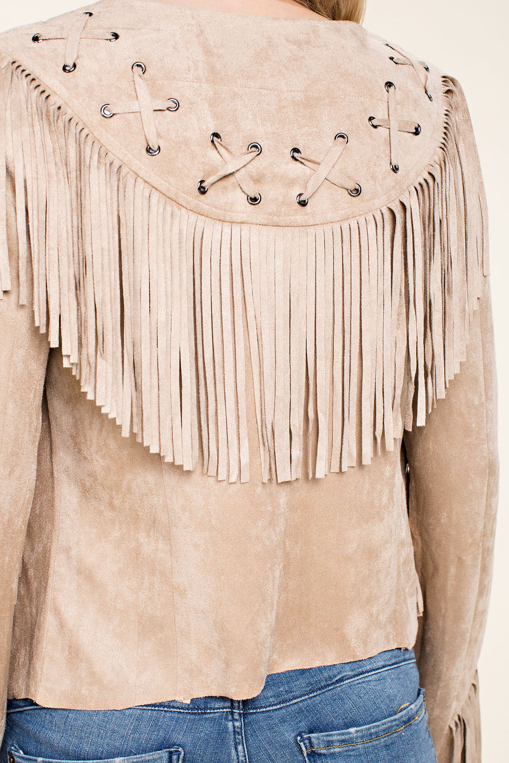 Suede Jacket with Fringe Details Tassels