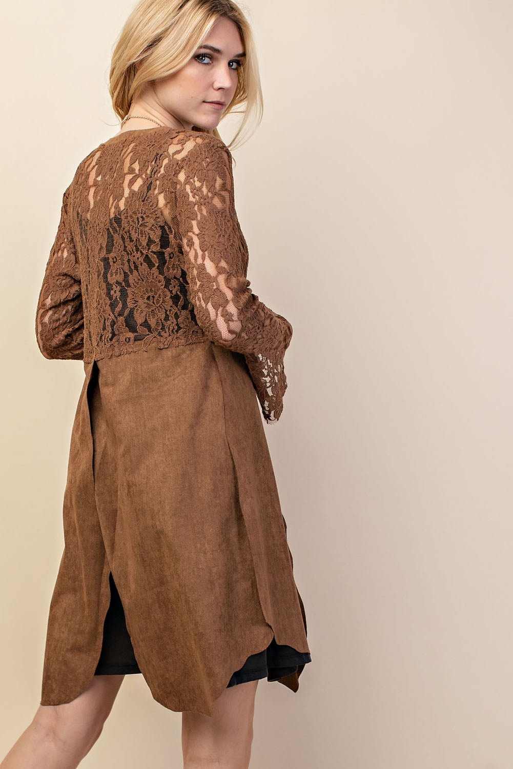 Suede and Lace Mixed Media Long Sleeve Cardigan with Slit
