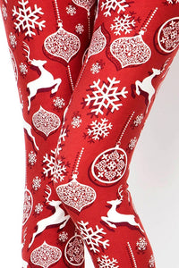 Christmas Womens best leggings BUTTERY SOFT LEGGINGS One Size Print Reindeer with snowflake leggings