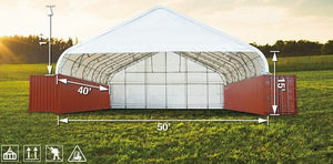Pro 50' x 40' Dual Truss Container Shelter, Enclosed end-wall and front drop with Heavy Duty 32oz PVC Fabric