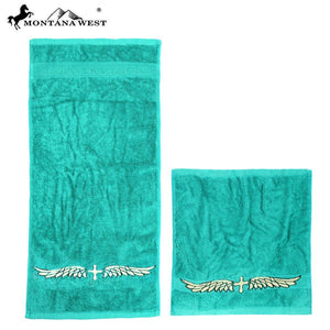 Cross wing embroidered Montana West Face & Hand Towels- Set of 6 Assorted Colors