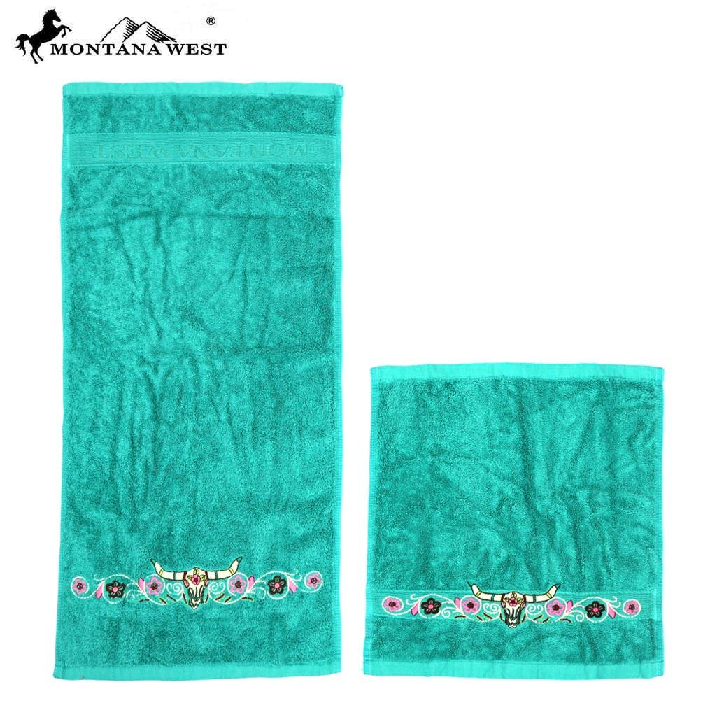 Steer head and floral embroidered Montana West Western towel set TW02 Montana West Face & Hand Towels- Set of 6 Assorted Colors