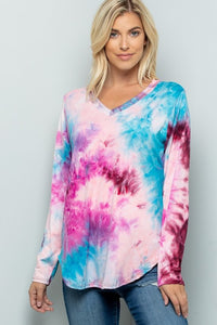 LONG SLEEVE TIE DYE PRINT V NECK TUNIC TOP PLUS