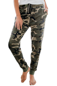 Green Cotton Blend Pocketed Camo Joggers Pants xlarge