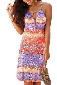 Purple Orange Bicolor Bohemian Print Keyhole Front Dress size med