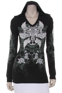 Long sleeve - WITH CROSS AND WING PRINT IN FRONT AND BACK AN