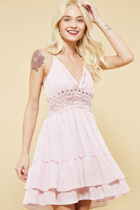 Womens summer crochet dress / Halter neck design Tassel accents Pink ladies Dress