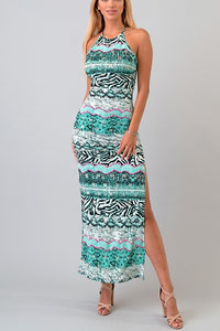 ROUND NECK SLEEVELESS ANCIENT MULTI PRINT BACK KEY-HOLE OPEN BACK MAXI SIDE SLIT DRESS