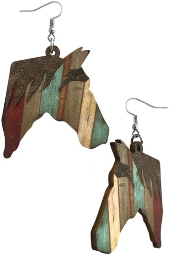 HORSE WOOD FISH HOOK EARRING