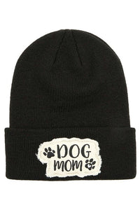 Dog Mom Winter Knitted Beanie CC Hat Tuque