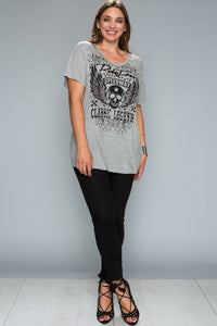 Womens skull shirt Basic Grey Bling Tee with Stone Print, XL