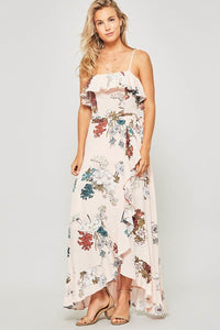 Floral maxi dress featuring straight neckline