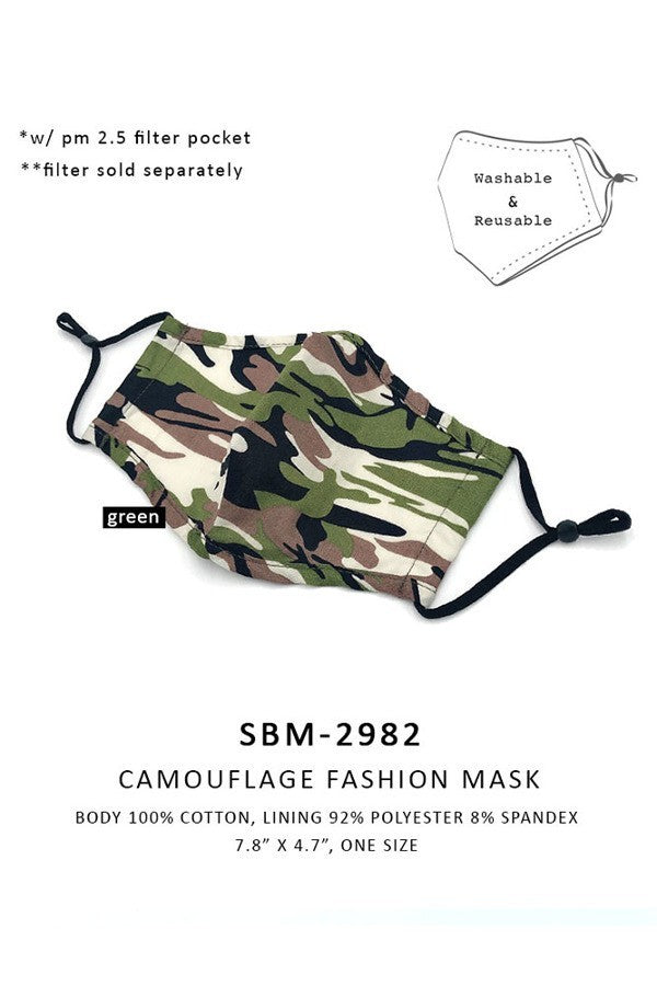 Camo print fashion mask