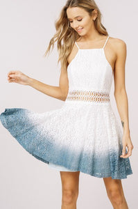 Open shoulder dress - Dip dyed Ombre color scheme dress