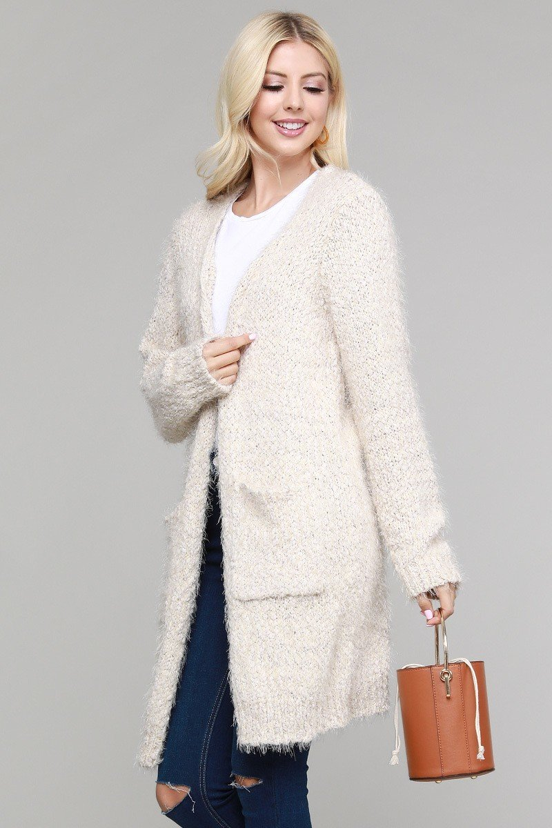 Fuzzy Long Cardigan