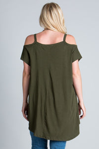 Sexy Plus size, Cold shoulder, short sleeved, high-low top with round-neck
