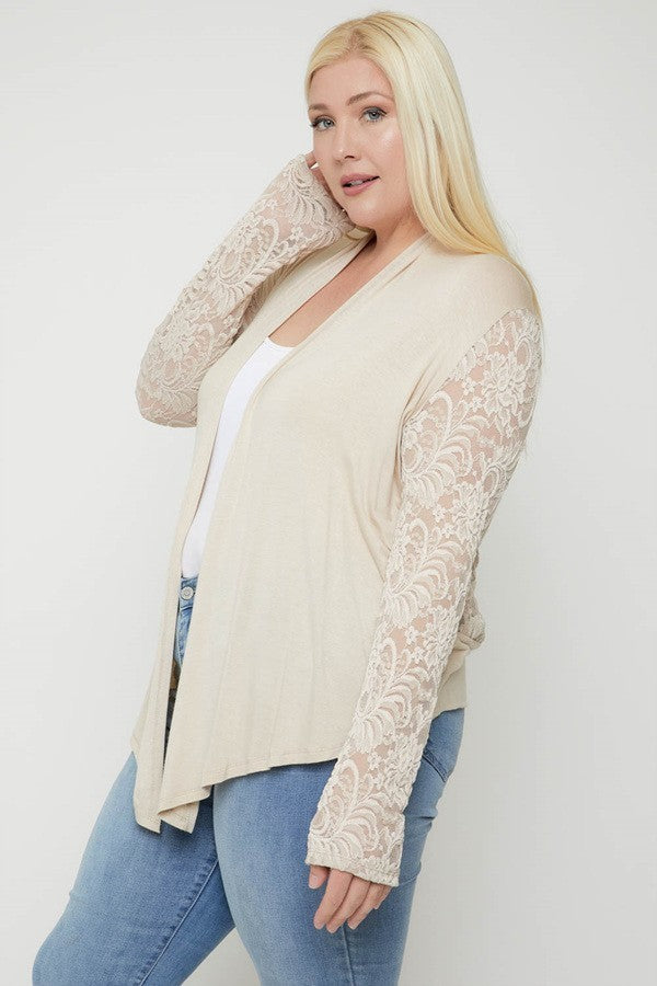 Plus size summer cardigan asymmetrical hem lace back and long sleeve