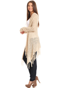 Knit draped cardigan with open front, long sleeves, and asymmetrical hem with fringe detail