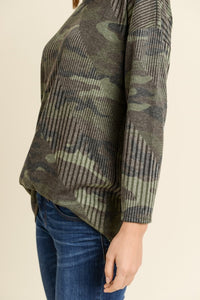 Ladies /women RIBBED CAMO TOP WITH A ROUND NECKLINE AND V CRISSCROSS BACK AND LONG SLEEVES