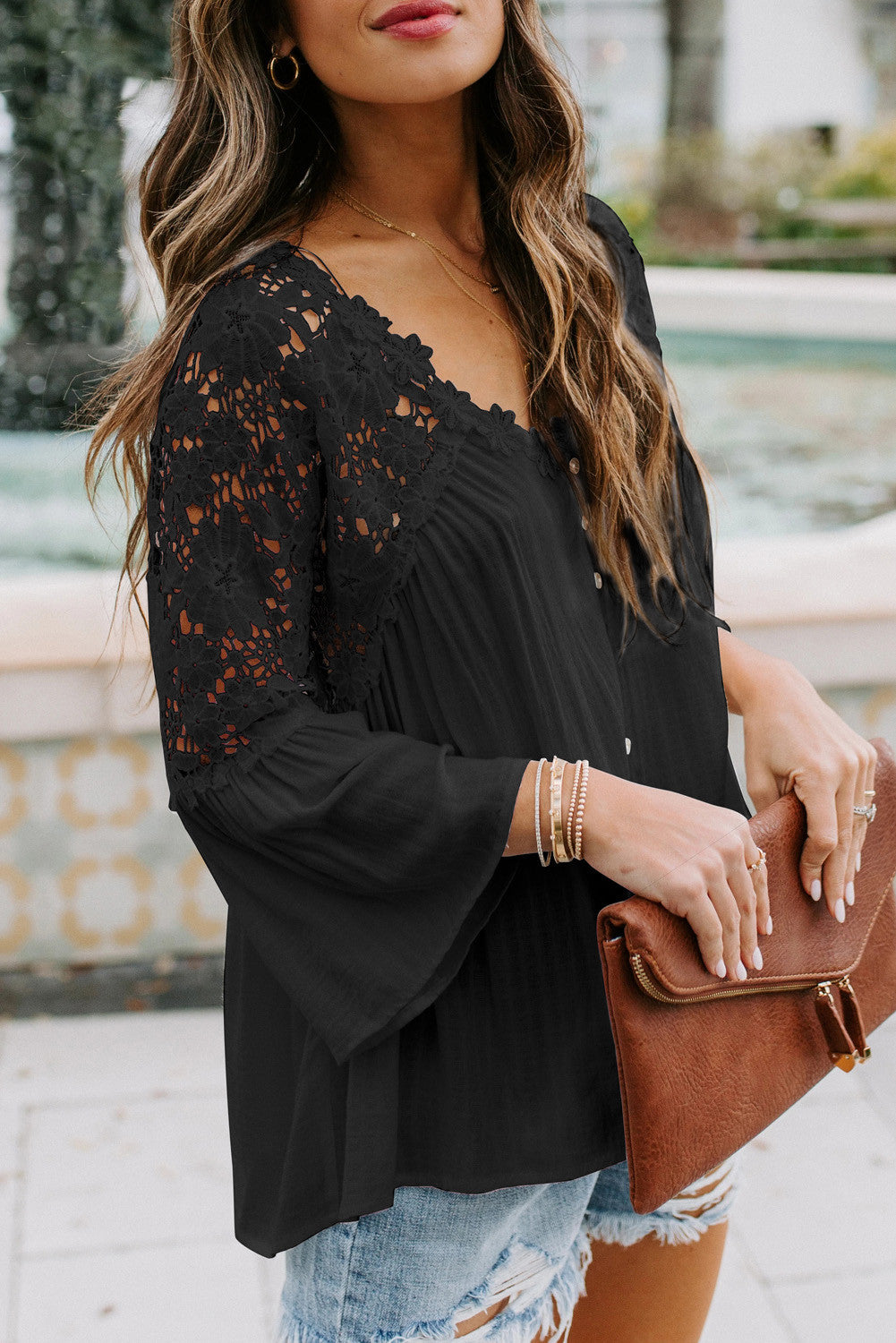 Pre Order Lace Shoulder Splicing Flowy Shirt