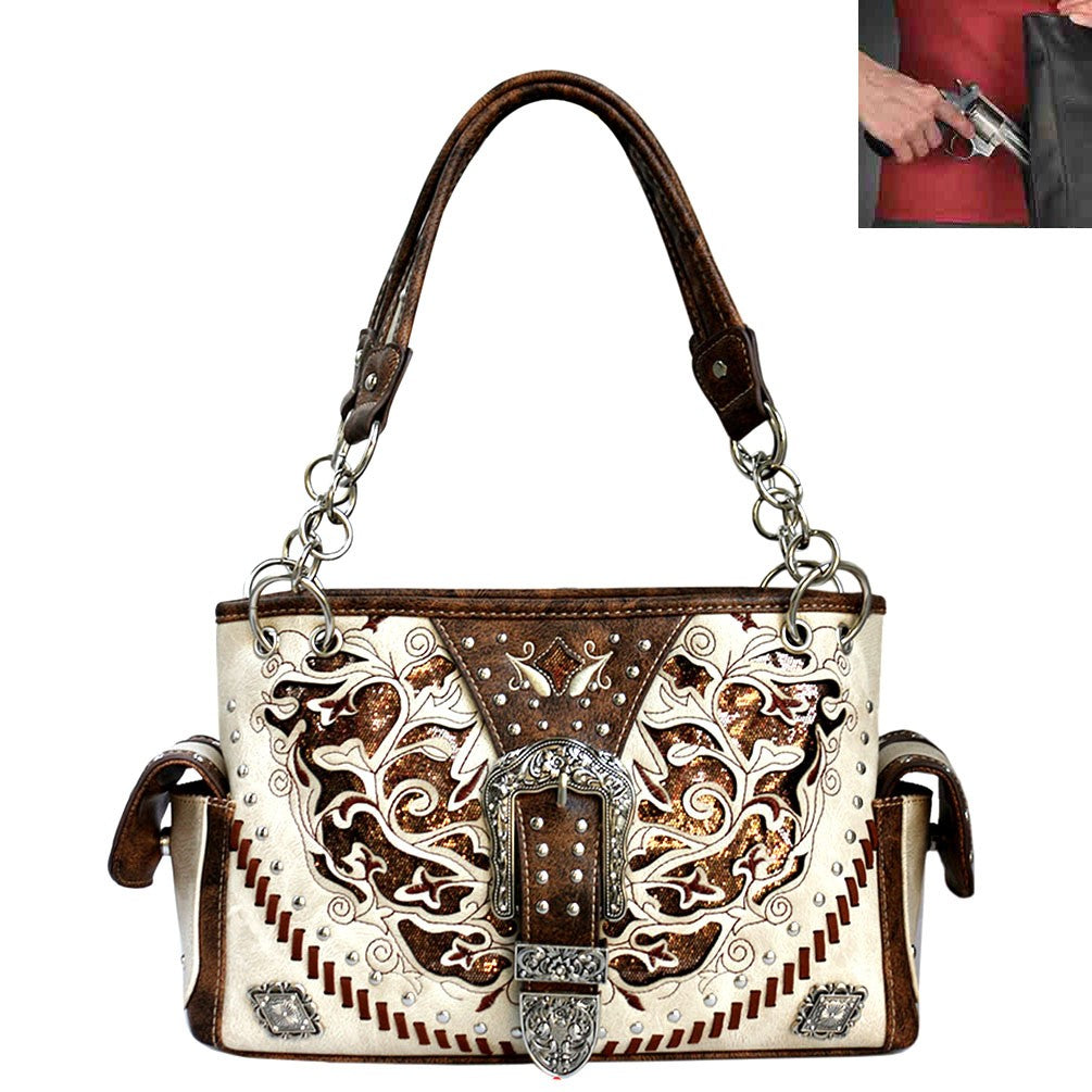 Western Buckle Floral Embroidery Buckle cream