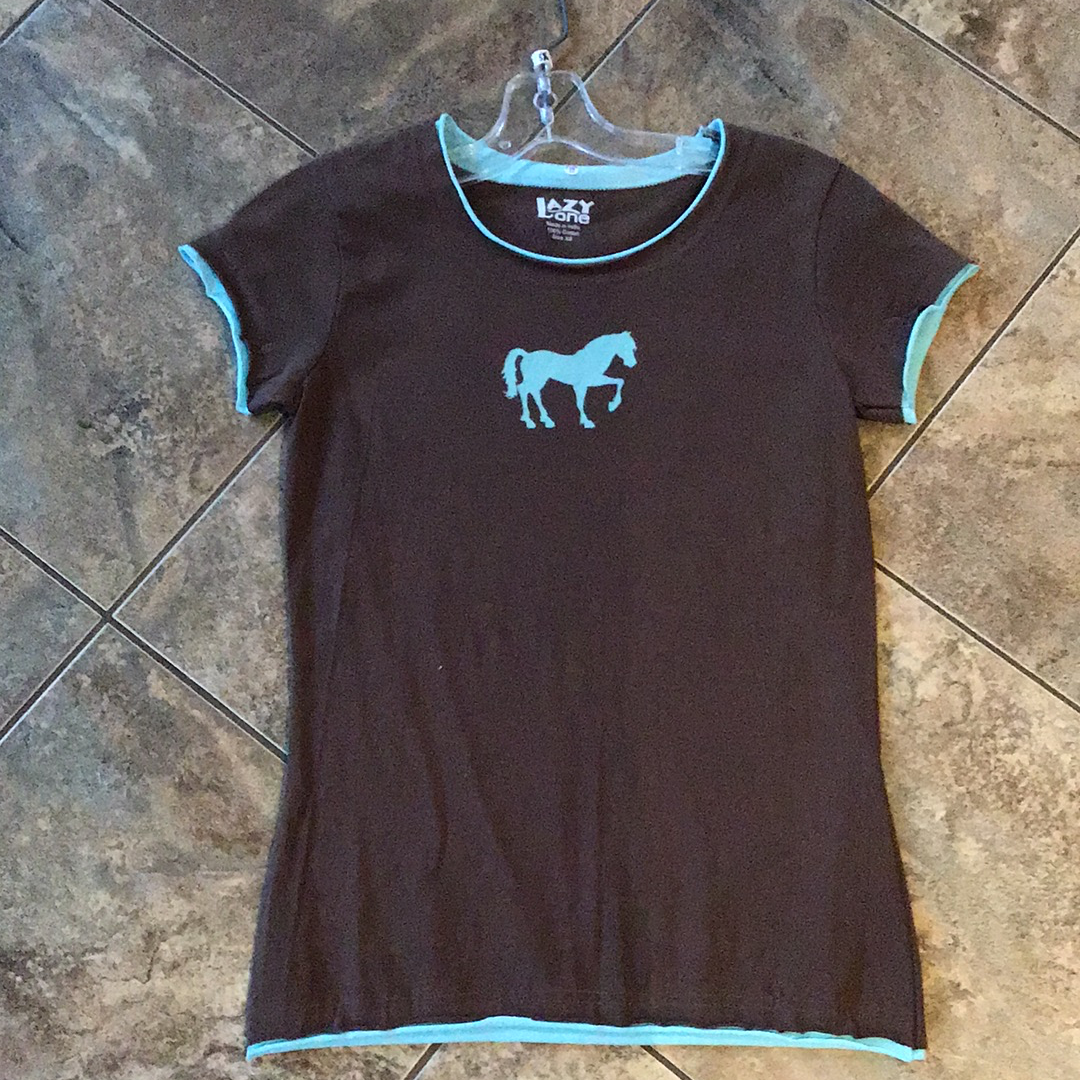 Women's Pyjamas & Nightshirts Lazy One Chocolate brown teal horse