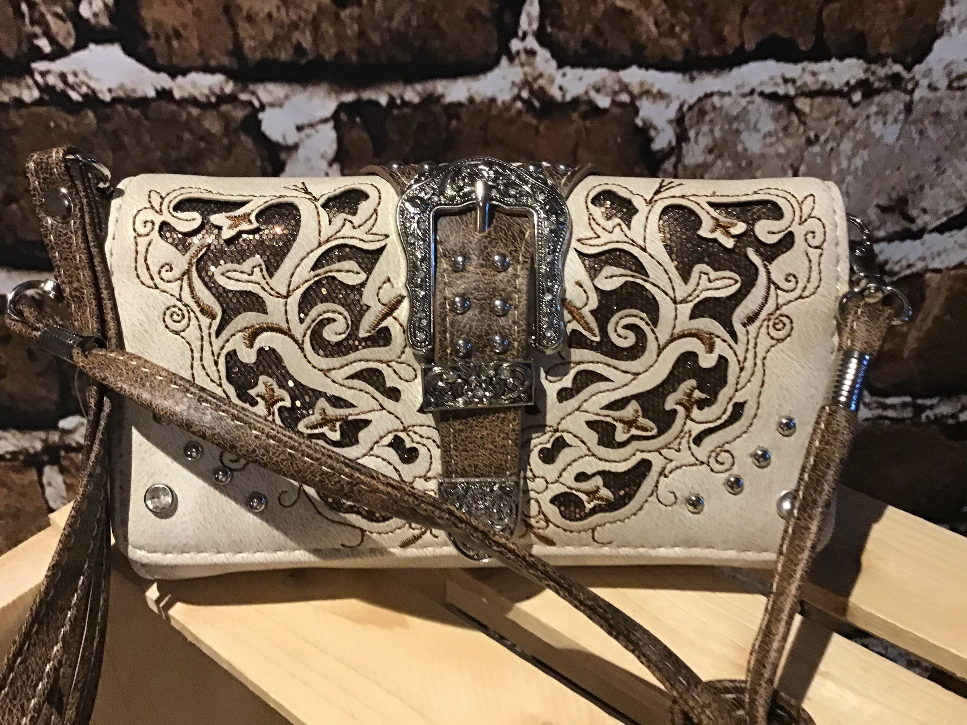 Multi Functional Western Buckle Trifold Clutch Crossbody Wallet Beige