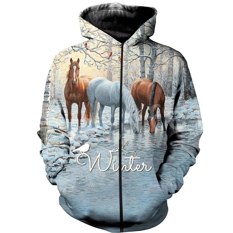 Winter Thin Horse Pull Over Hoodie Zipper up