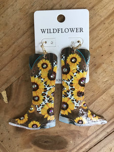 Sunflower cowboy boot earrings