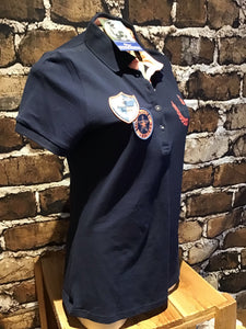 Navy blue with patch Harry horse English riding polo shirt