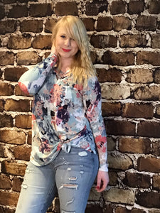 FLORAL BLUE PEACH TAN LONG PRINT SHIRT WITH DOUBLE CROSS STITCH
