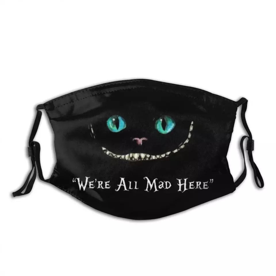 Cheshire cat Green Print Alice in Wonderland We're all Mad here Face Mask