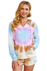 Multicolor Cotton Blend Pocketed Tie-dye Hoodie Shorts Suit
