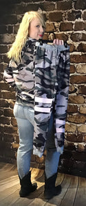 Green Camo Print Color Block Pullover  Hoodie & Jogger Sold Separately / Lounge