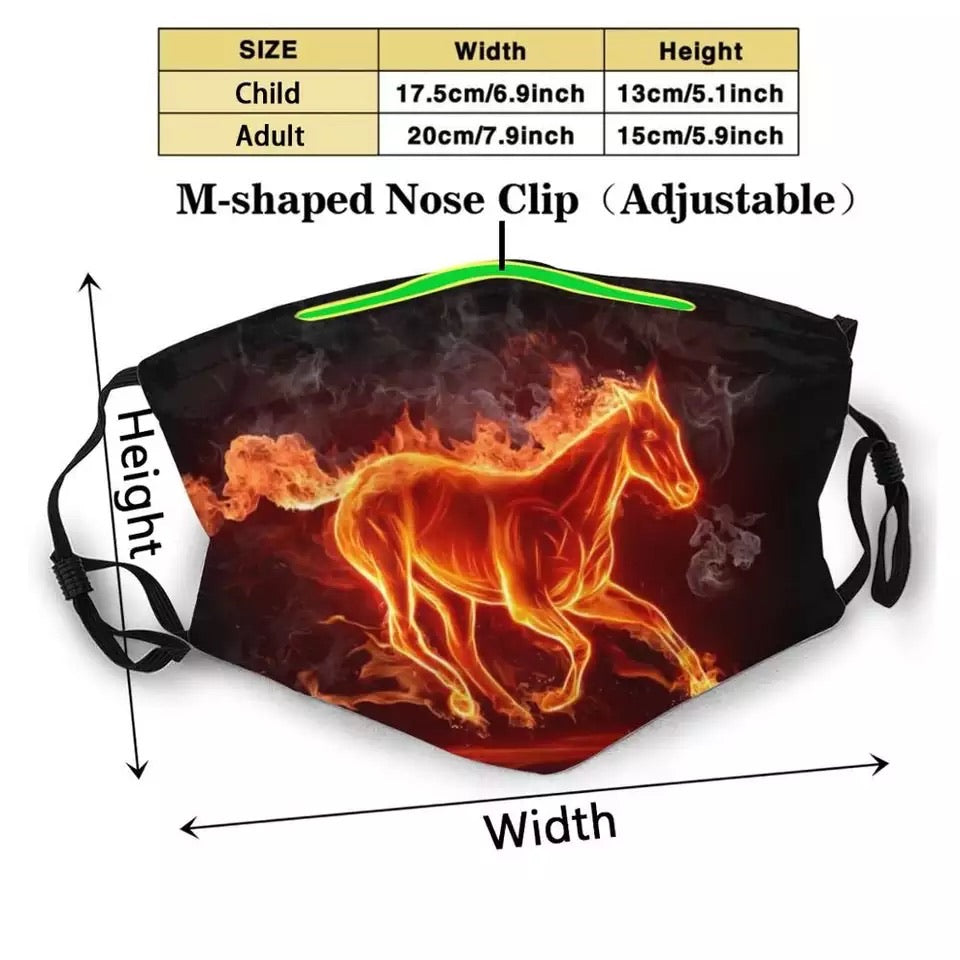 Fiery Horse Face Mask Washable Reusable Trendy Mouth Face